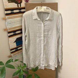 Pin-Stripe Button Up Collared Top